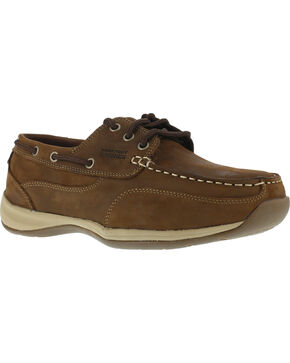 Rockport Works Sailing Club Boat Shoes - Steel Toe, Brown, hi-res
