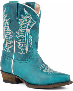 Roper Girls' Chiefs Burnished Blue Turquoise Native Embroidered Cowgirl Boots - Snip Toe, Blue, hi-res
