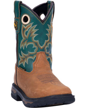 Dan Post Youth Boys' Ridge Runner Western Boots - Wide Square Toe, Tan, hi-res