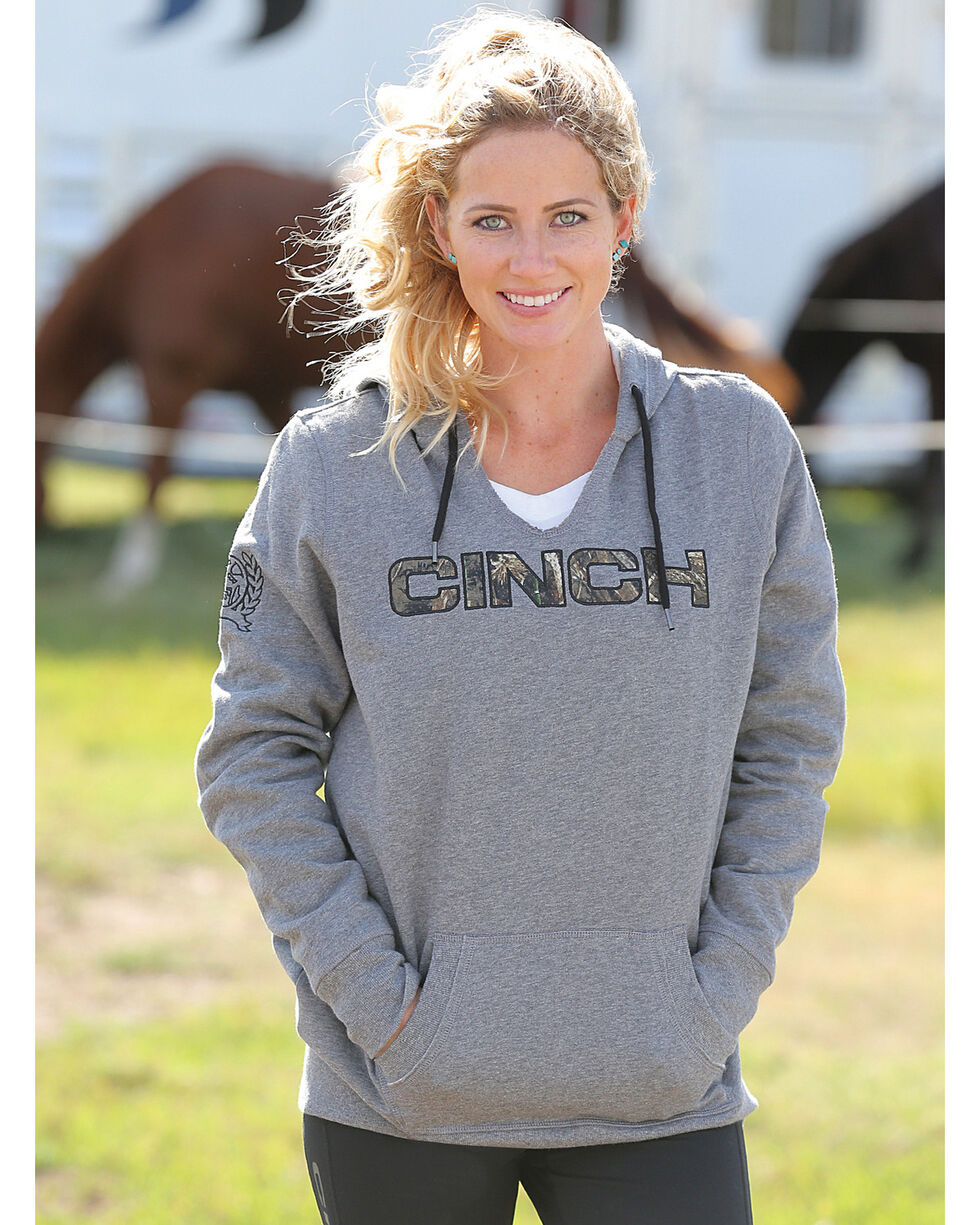 Cinch Women's Realtree Charcoal Fleece Hoodie , Charcoal, hi-res