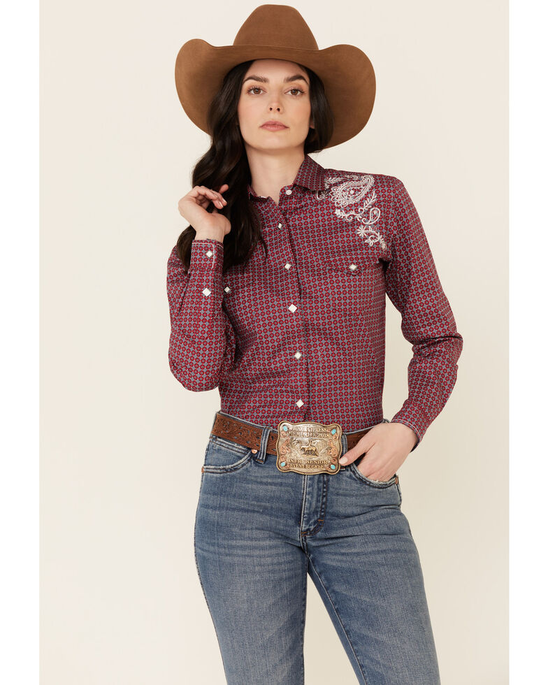 Rough Stock By Panhandle Women's Tile Geo Print Embroidered Yoke Long Sleeve Snap Core Western Shirt , Red, hi-res