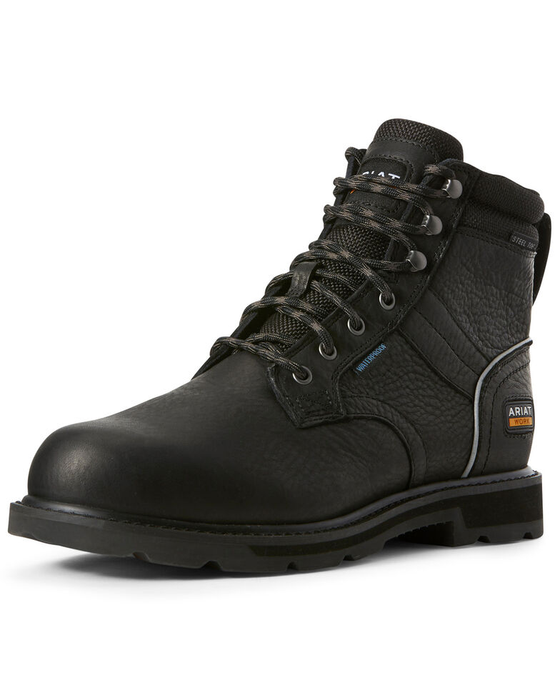 Ariat Men's Black Groundbreaker Waterproof Work Boots - Steel Toe, Black, hi-res