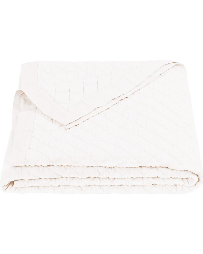 HiEnd Accents Diamond Pattern Vintage White Linen Twin Quilt, White, hi-res