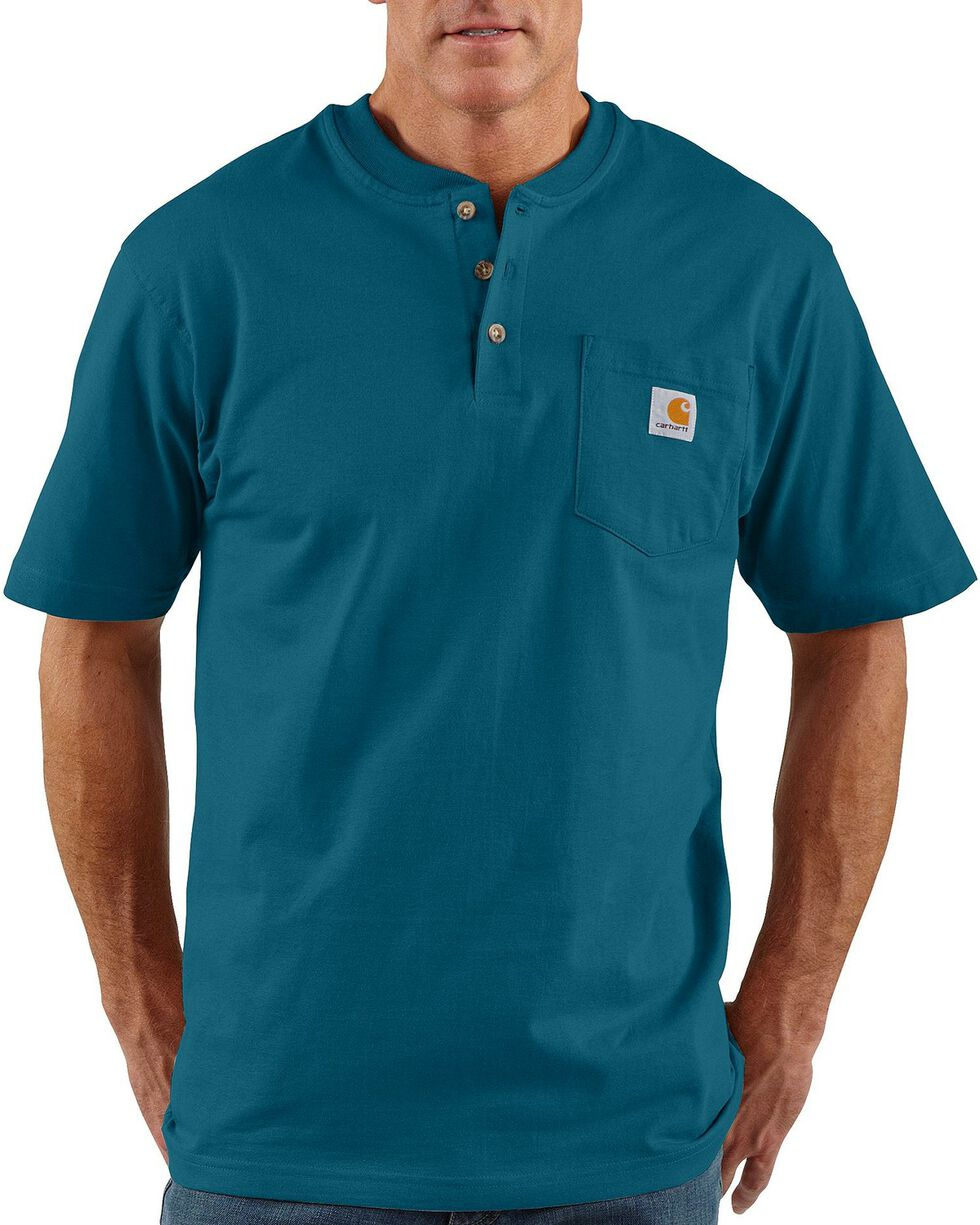 Carhartt Men's Workwear Henley Short Sleeve Shirt, Blue, hi-res