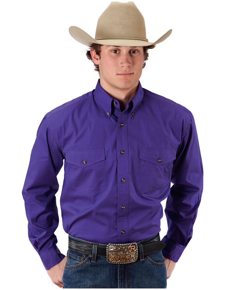 Roper Men's Solid Amarillo Collection Long Sleeve Western Shirt, Purple, hi-res
