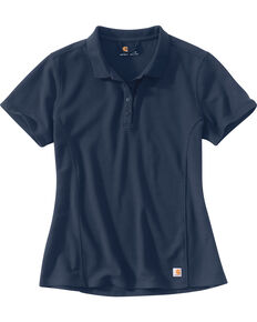 Carhartt Women's Contractor's Short Sleeve Work Polo , Navy, hi-res