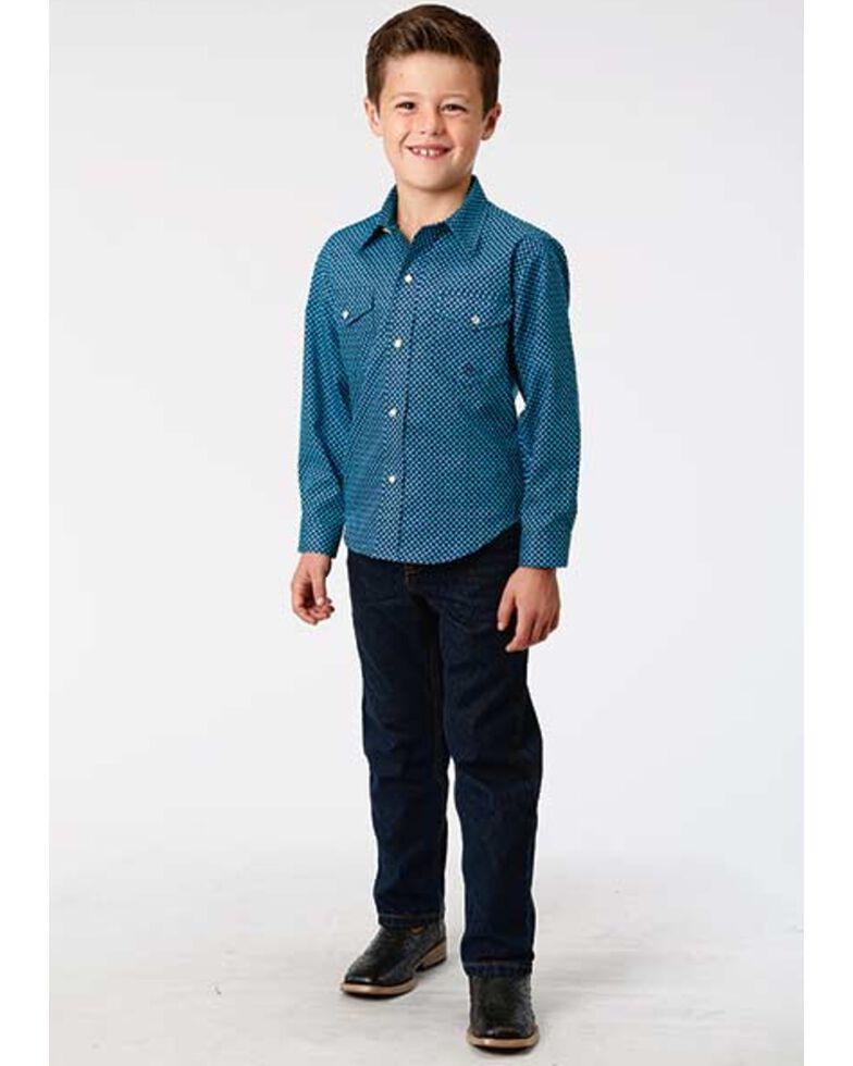 Roper Boys' Amarillo Diamond Geo Print Long Sleeve Western Shirt , Blue, hi-res