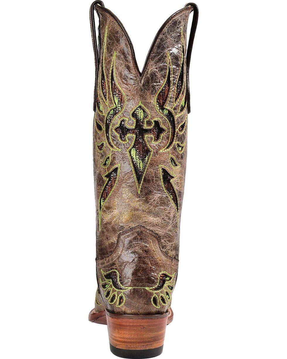 Ferrini Fabric Glitter Inlay Cross Distressed Cowgirl Boots - Snip Toe, Brown, hi-res