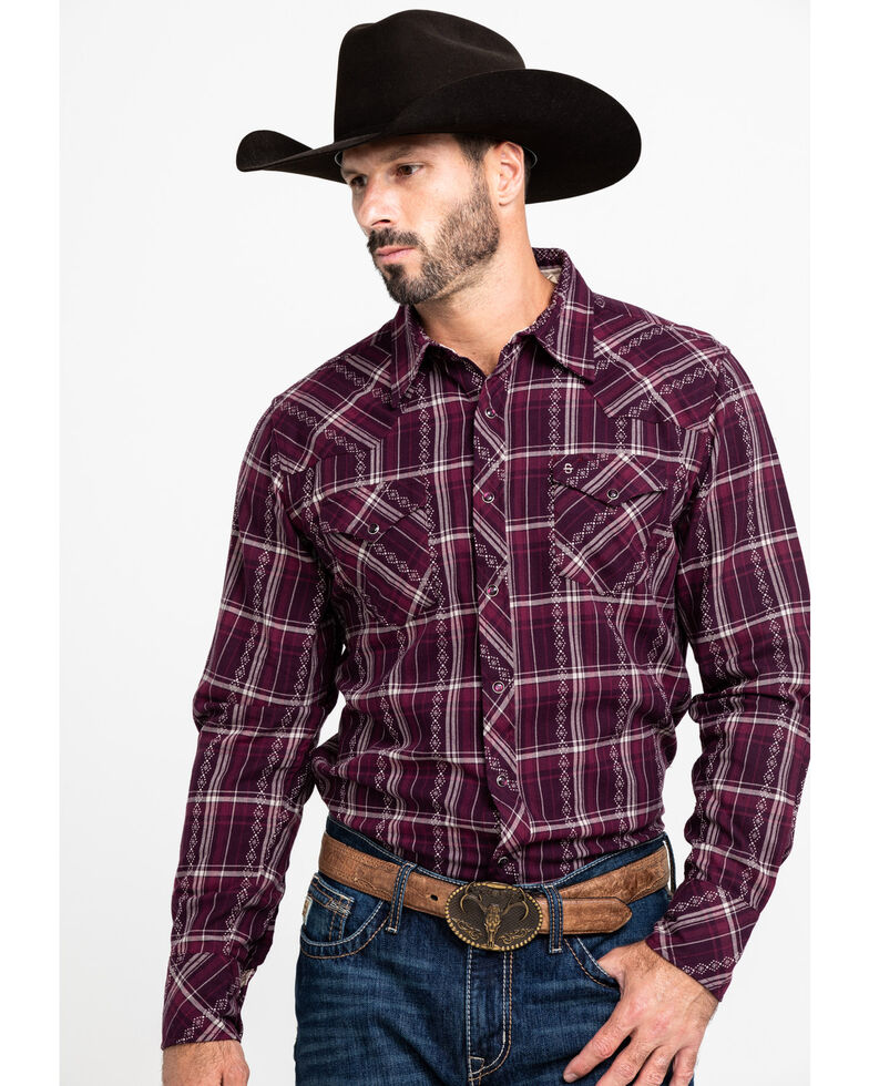 Stetson Men's Wine Rugged Dobby Plaid Long Sleeve Western Shirt , Wine, hi-res