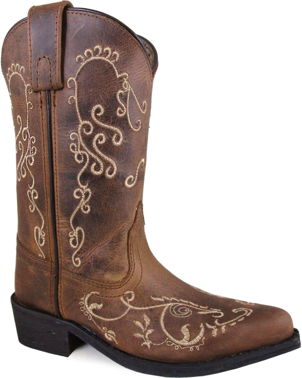Smoky Mountain Girls' Brown Jolene Waxed Distressed Boots - Medium Toe , Brown, hi-res