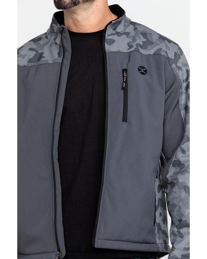 HOOey Men's Charcoal Digital Camo Softshell Jacket , Charcoal, hi-res
