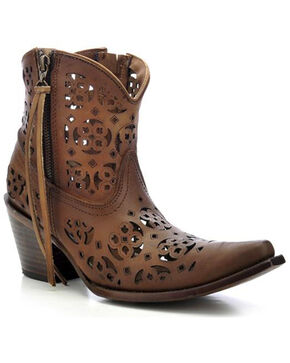 Corral Women's Floral Cutout  Western Booties, Brown, hi-res