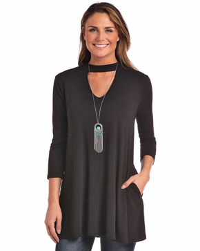Panhandle Women's Choker Style V-Neck Tunic, Black, hi-res