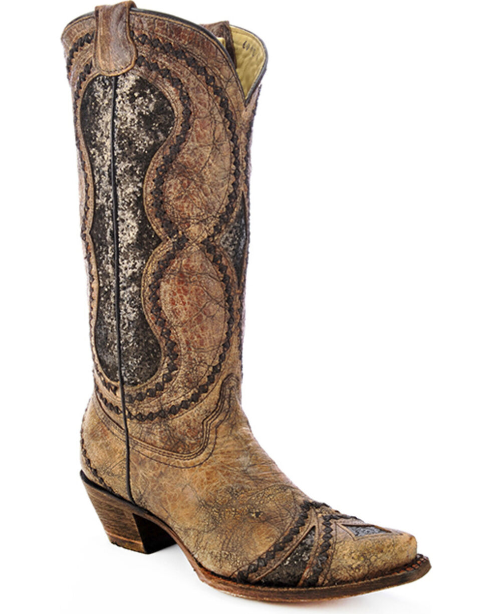 Corral Women's Glitter Diamond Inlay Strap Western Boots, Cognac, hi-res