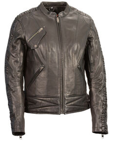 Milwaukee Leather Women's Crinkle Arm Lightweight Racer Leather Jacket - 5X, Black, hi-res