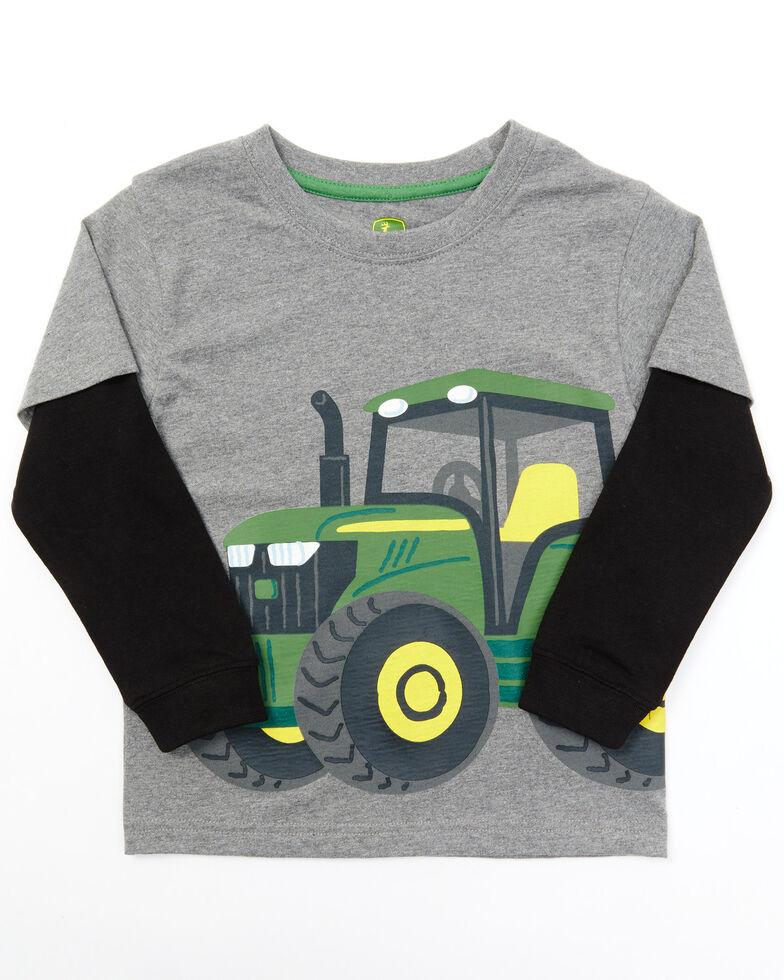 John Deere Toddler Boys' Grey Wrap Graphic Long Sleeve T-Shirt, Grey, hi-res