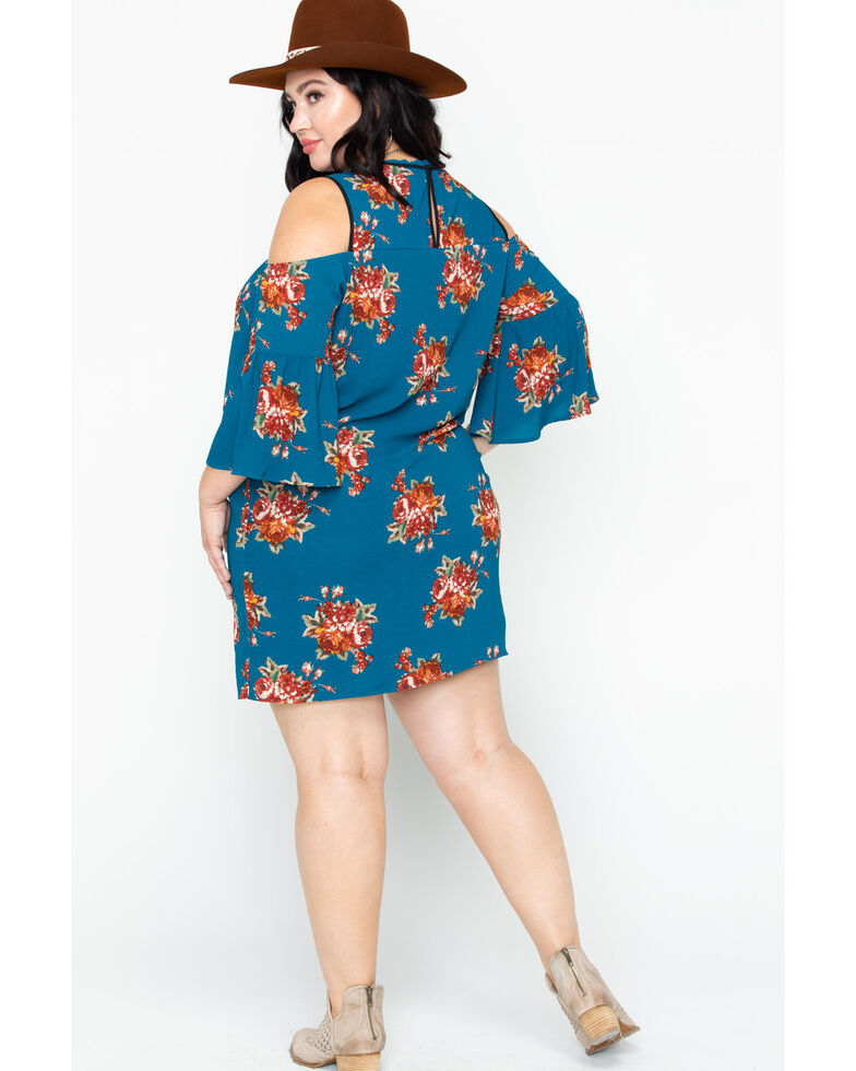 Flying Tomato Women\'s Floral Cold Shoulder Dress- Plus Size
