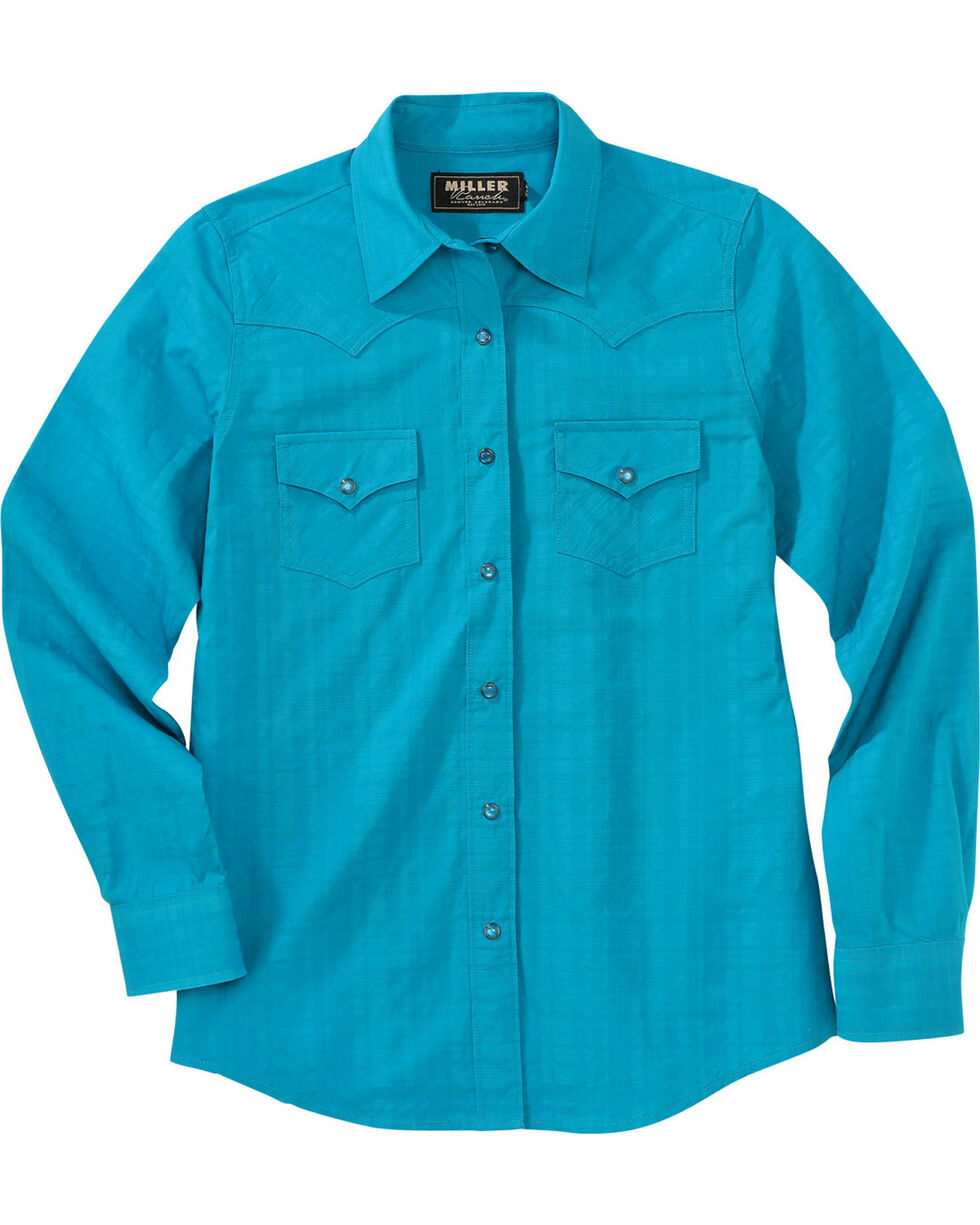 Miller Ranch Women's Teal Plaid Dress Shirt, Teal, hi-res
