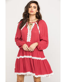Rock & Roll Cowgirl Women's Red Crochet Long Sleeve Tiered Dress, Red, hi-res