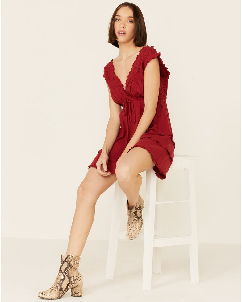 Shyanne Women's Red Cross Over Ruffle Dress, Red, hi-res