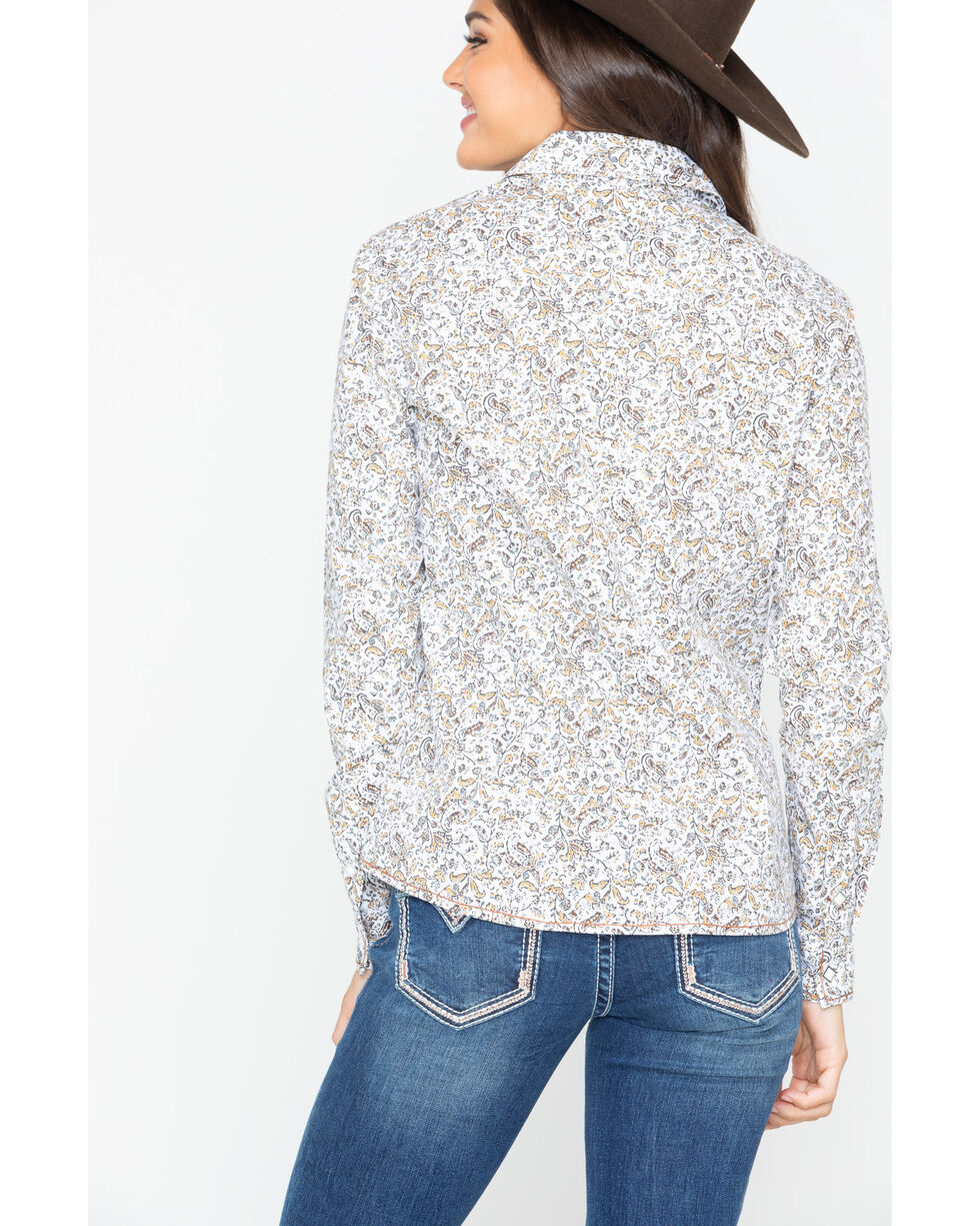 Panhandle Women's Floral Print Snap Long Sleeve Western Shirt , Ivory, hi-res