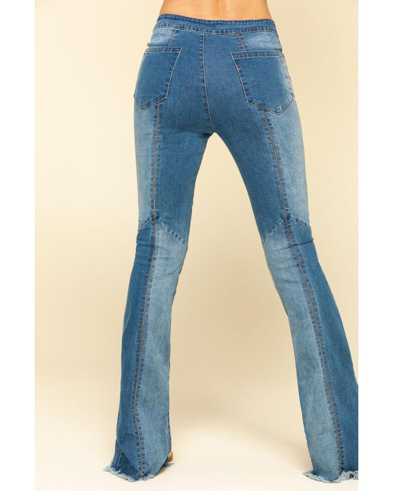 Chrysanthemum Women's Multi-Wash Flare Slit Jeans , Blue, hi-res