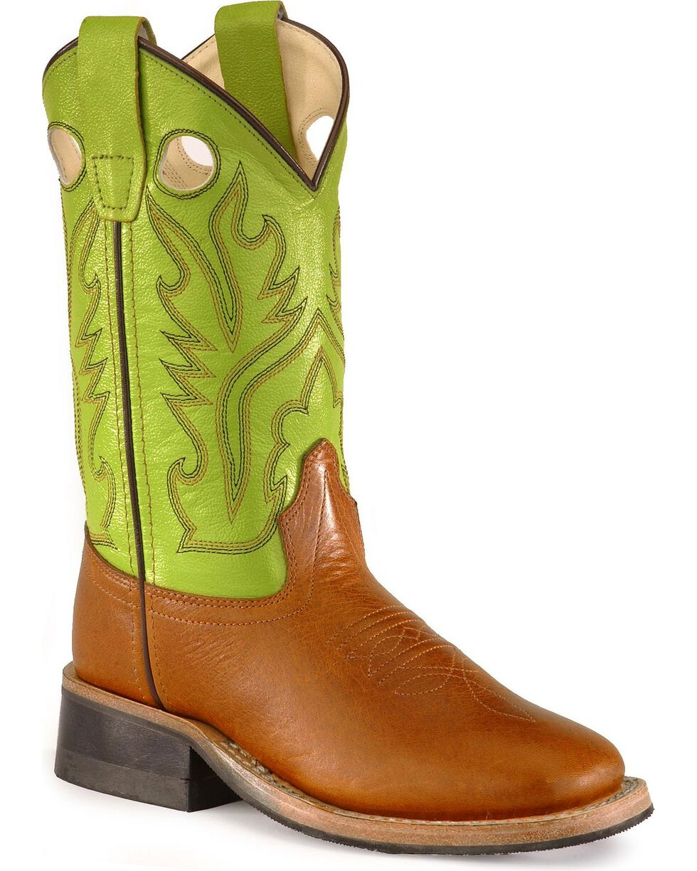 Old West Youth Corona Calfskin Cowboy Boots - Square Toe, Cognac, hi-res