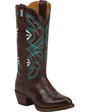 Tony Lama Women's Smooth Embroidered Western Boots, Brown, hi-res