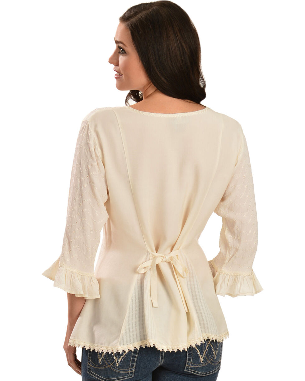 Scully Women's Tonal Embroidered - Length Blouse, Ivory, hi-res