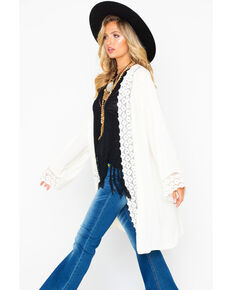 Wrangler Women's Ivory Lace Trim Duster, Ivory, hi-res