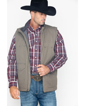 Cinch Men's Fleece Lined Canvas Concealed Carry Vest, Grey, hi-res
