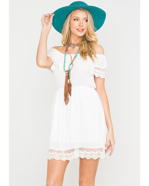 Panhandle Women's White Peasant Crinkle Dress, White, hi-res