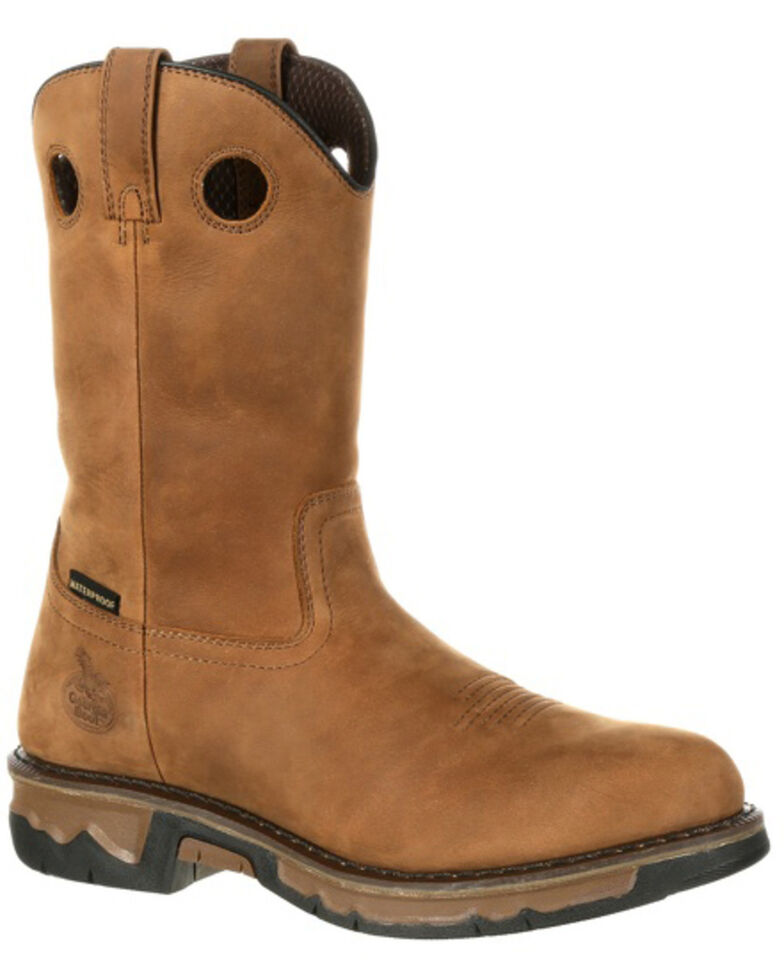 Georgia Boot Men's Carbo-Tec Waterproof Western Work Boots - Soft Toe, Dark Brown, hi-res