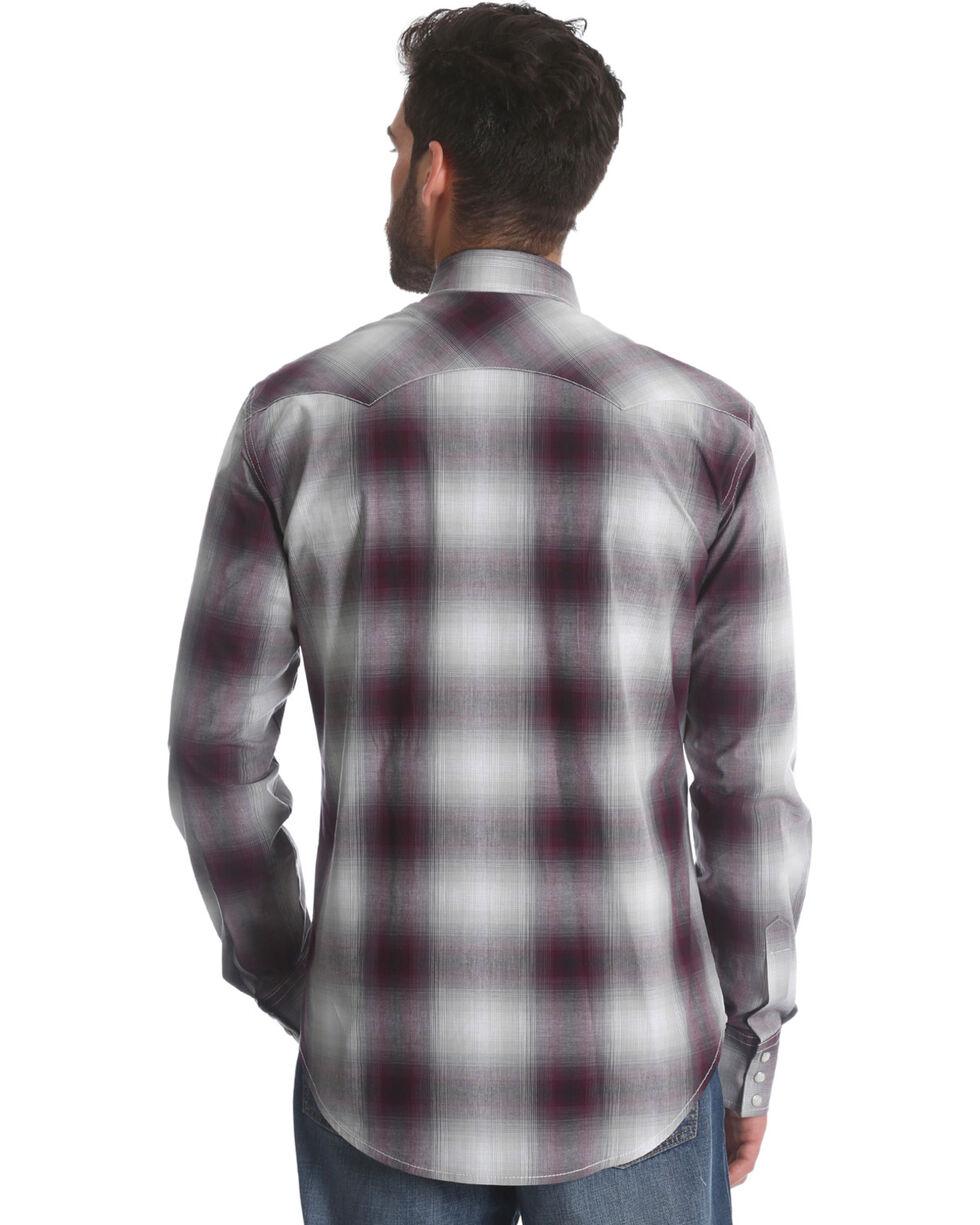 Wrangler Retro Men's Burgundy Plaid Long Sleeve Shirt, Burgundy, hi-res