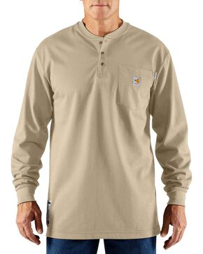 Carhartt Men's Long Sleeve Flame Resistant Force Henley, Sand, hi-res