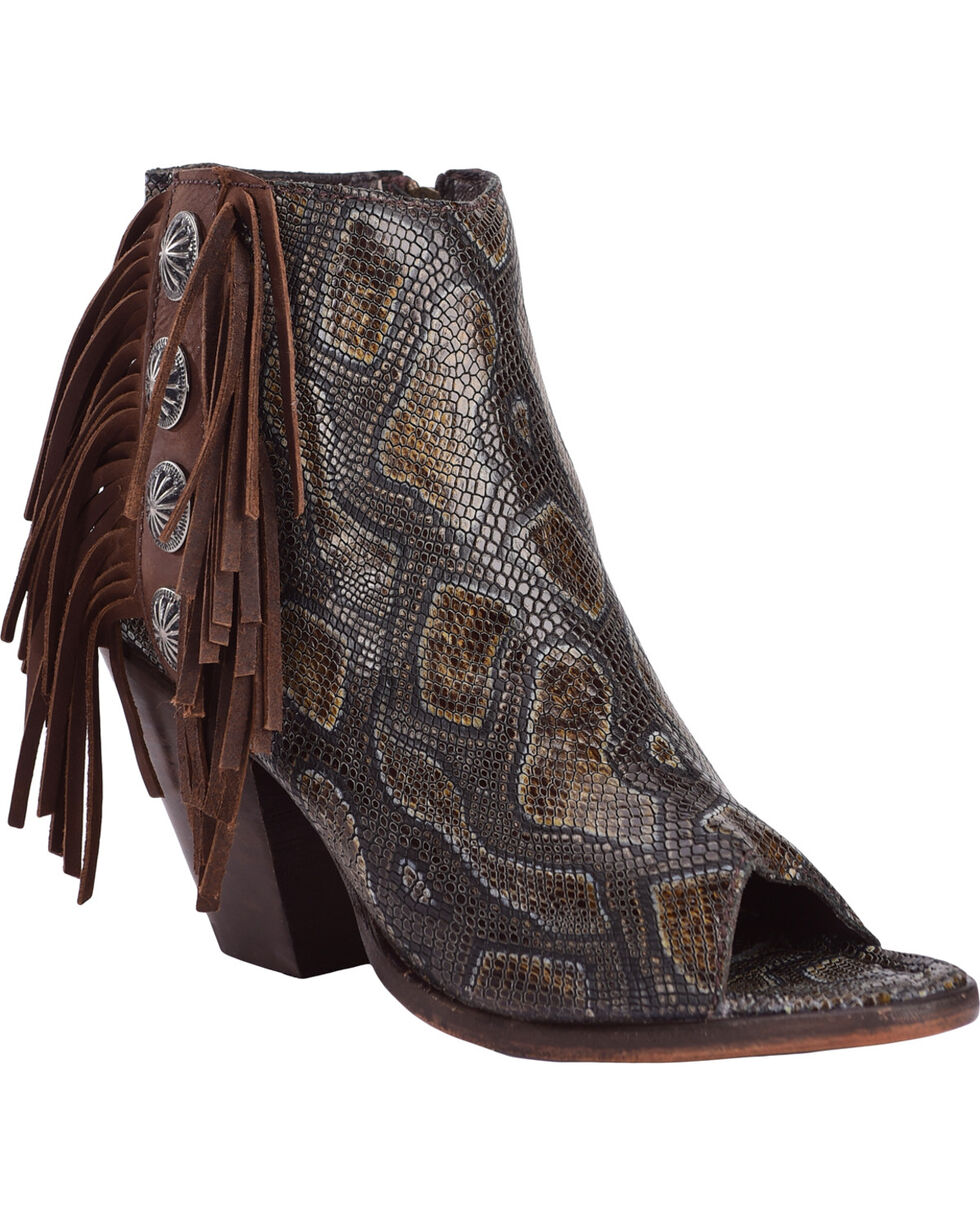 Liberty Black Women's Brenton Snake Print Booties , Dark Brown, hi-res