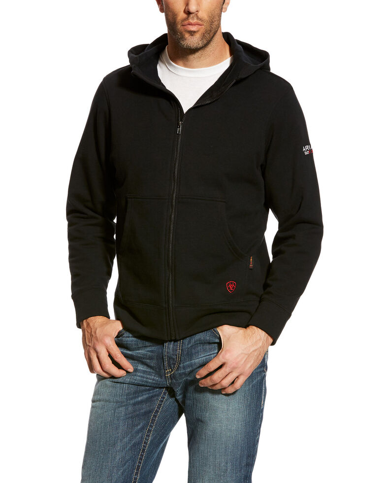 Ariat Men's Black FR Full Zip Hoodie - Big , Black, hi-res