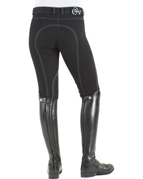 Ovation Women's Euro Jean Zip Front Knee Patch Breeches, Black, hi-res