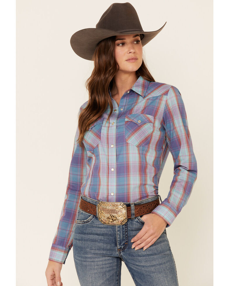 Wrangler Women's Turquoise Essential Plaid Long Sleeve Western Shirt , Turquoise, hi-res
