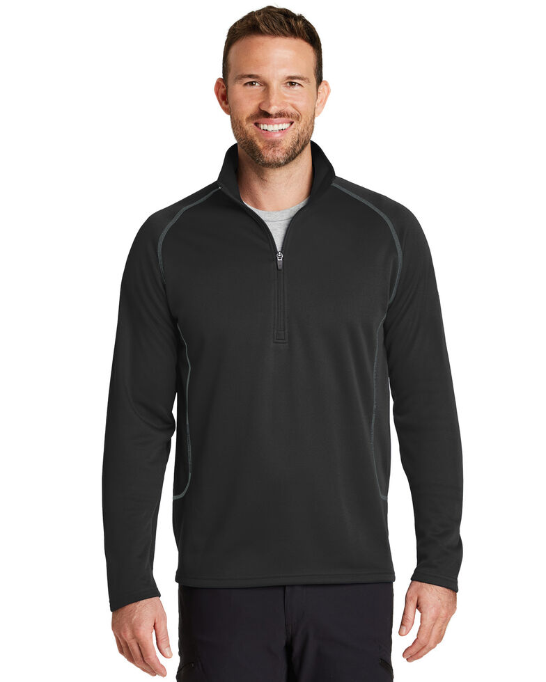 Eddie Bauer Men's Black Smooth Fleece Base Layer 1/2 Zip Pullover, Black, hi-res