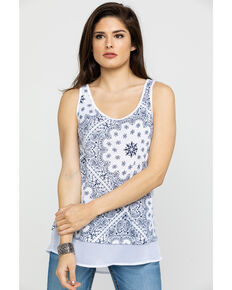 Ariat Women's Paisley Tank Top, White, hi-res