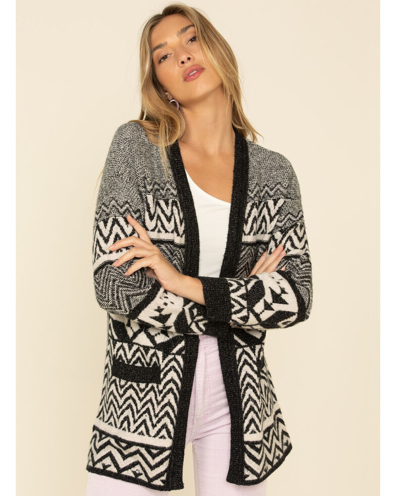 Shyanne Women's Black Mixed Geo Print Open Front Cardigan, Black, hi-res