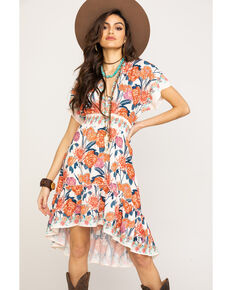 Flying Tomato Women's Floral Smocked Waist Hi Low Dress, Ivory, hi-res