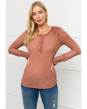 Mystree Women's Ribbed Henley Long Sleeve Top, Blush, hi-res