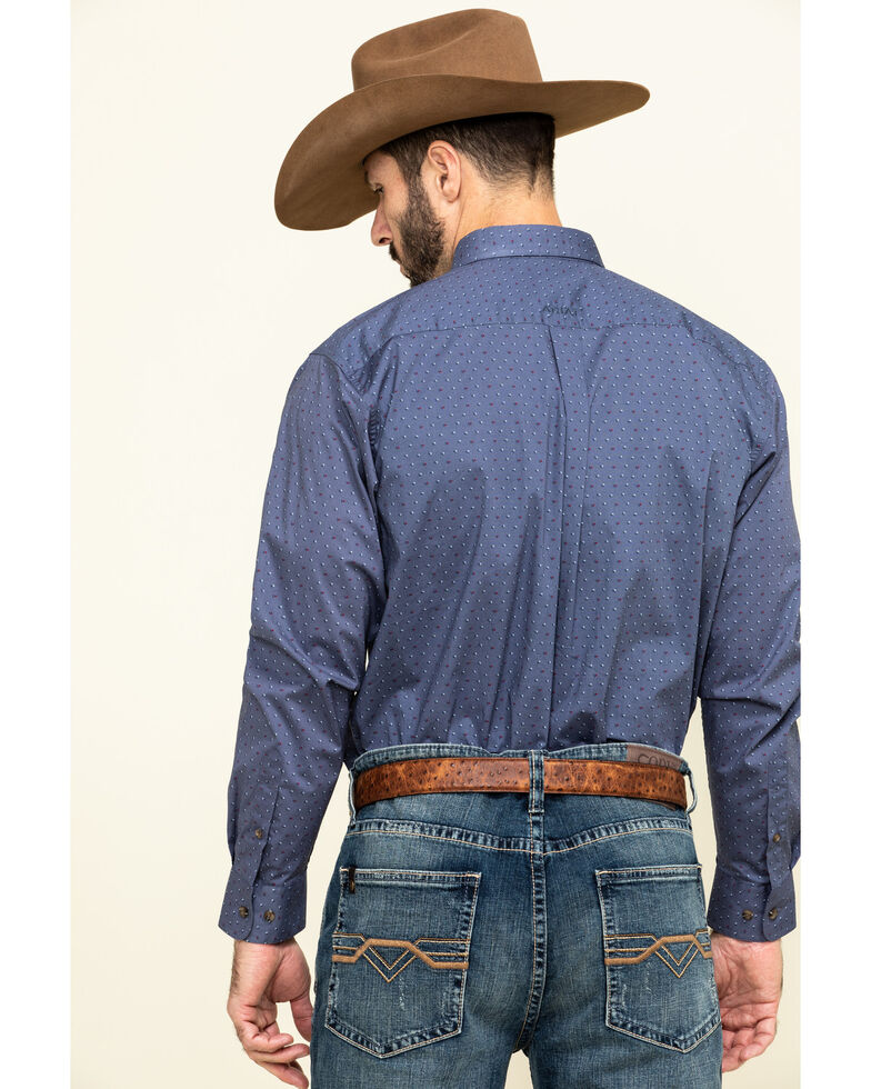 Ariat Men's Newcastle Floral Geo Print Long Sleeve Western Shirt , Blue, hi-res
