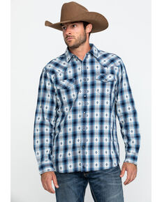 Cody James Men's Blue Plaid Long Sleeve Western Flannel Shirt - Tall , Blue, hi-res