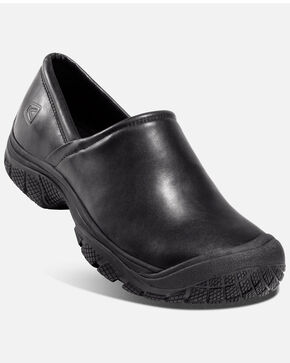 Keen Men's PTC Slip-On Work Shoes - Round Toe, Black, hi-res