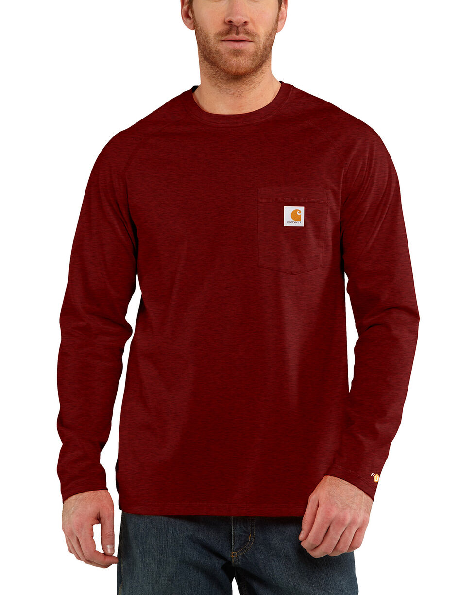 Carhartt Force Long Sleeve Work Shirt, Red/brown, hi-res