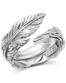 Montana Silversmiths Women's Joyful Feather Ring - Size 9, Silver, hi-res