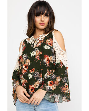 Nikki Erin Women's Floral Crochet Cold Shoulder Top , Olive, hi-res